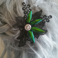 Jewelled beetle wing and lace barrettes (Design B)
