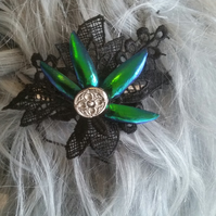 Jewelled beetle wing and lace barrettes (Design C)
