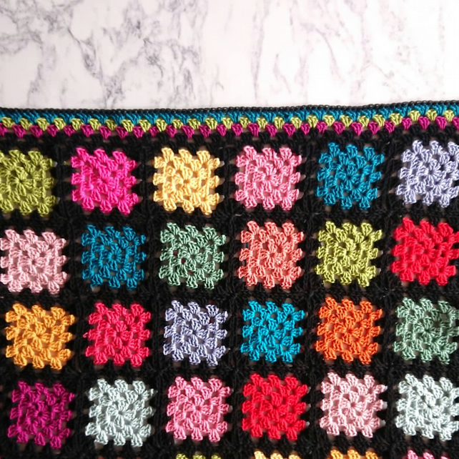 Cotton granny square baby blanket - bright blanket - nursery decor - baby shower