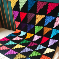 Geometric blanket - bright triangles - crochet - housewarming - modern blanket