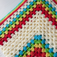 Baby blanket - granny square - retro - rainbow - baby shower gift - new parent