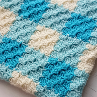 Blue gingham style blanket - baby blanket- new baby - baby shower - gift