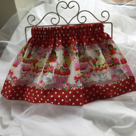 Elasticated Skirt with Ice Cream Sundae Design Fabric