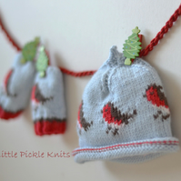 KNITTING PATTERN Little Robins Beanie and Baby Mittens