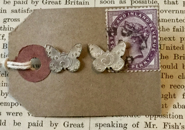 Butterfly threepence stud earrings