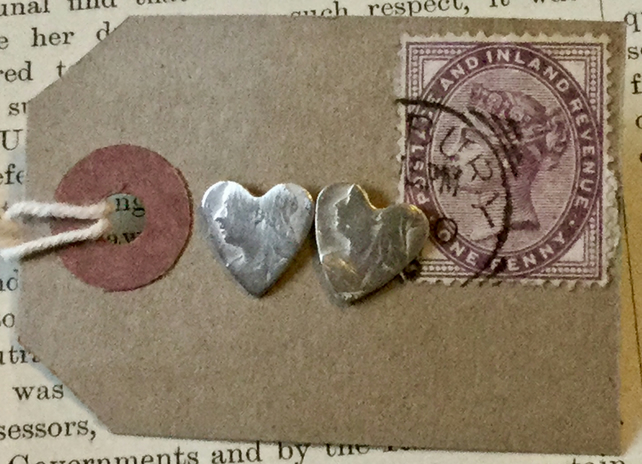 Heart threepence stud earrings