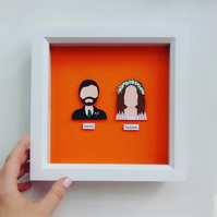 Framed Personalised Bride & Groom Paper Portrait Gift (2 x Portraits)