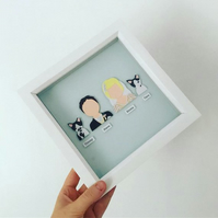 Framed Personalised Bride & Groom Paper Portrait Gift (4 x Portraits)