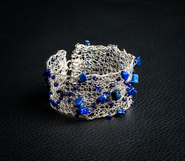 Knitted silver wire bangle