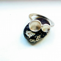 2 bubbles silver ring