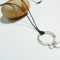 Flattened balls sterling silver pendant-ring