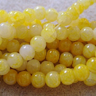 60 yellow opaque glass crackle beads, 6mm