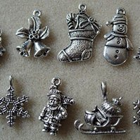 10 silver plated Christmas charms