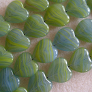 European glass heart beads, 15mm, green and blue
