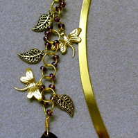 Large gold plated purple crystal leaf bookmark