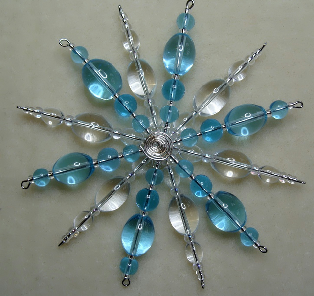 Snowflake Christmas decoration crystal clear and aqua