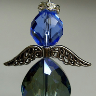Blue faceted crystal angel