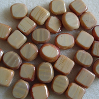 30 mixed beige and brown Indian glass beads