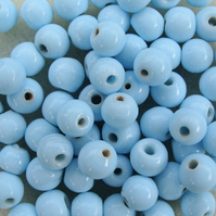 75 Indian glass beads, opaque pale aqua blue, 5mm