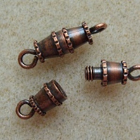 Small barrel clasps, antique copper