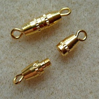 Small gold plated barrel clasp