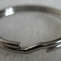 6 split ring key rings, 25mm