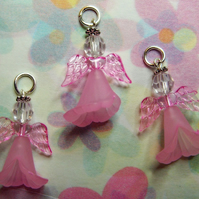 3 pink angel charms, 24mm