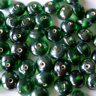 40 emerald green lustered glass saucer beads