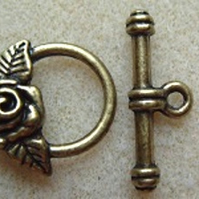 Rose toggle clasp, antique gold plated