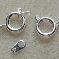 Bolt ring clasps, 8mm, pack of 8, silver plated