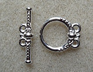 Toggle clasp, 2 loops, silver plated