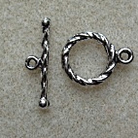Rope pattern toggle clasps, 12mm, pack of 5, antique silver