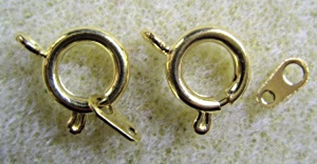Bolt ring clasps, 8mm, pack of 8, gold plated