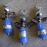 Angel charm, blue with silver leaf drop bead