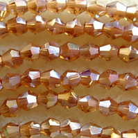 SALE strand 4mm crystal bicone beads, amber ab