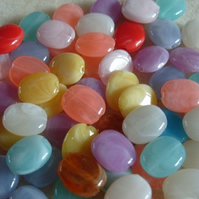 60 acrylic flat oval beads, mixed