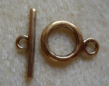 Toggle clasp, antique gold, 14mm
