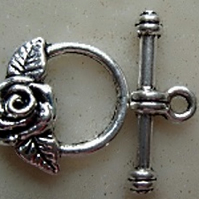 Rose toggle clasp antique silver