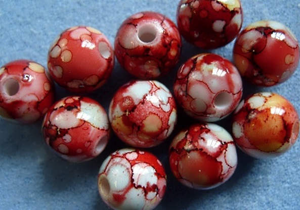 10, 12mm acrylic beads, red-yellow