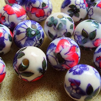 6, 14mm round acrylic flower beads, pink-purple