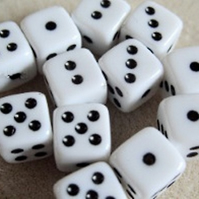 12 dice beads, 9mm, white