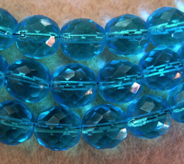 10, 12mm fire polished crystal beads, turquoise blue