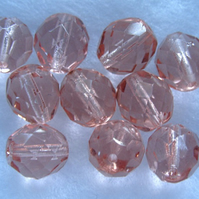 10, 12mm fire polished crystal beads, peach