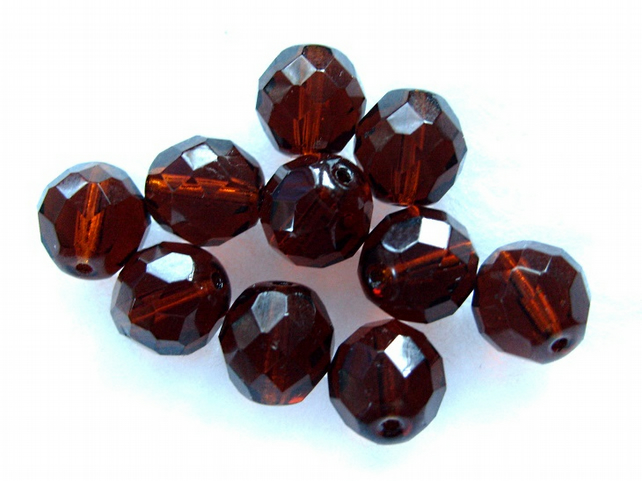 10, 12mm fire polished crystal beads, dark topaz