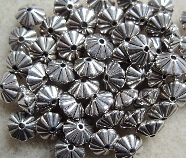 50 metallised lice spacer beads, silver, 6.5mm