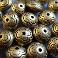 12, antique gold metallised roundelles, 12mm
