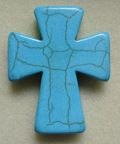Large dyed howlite cross, 50mm