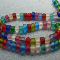 50 mixed frosted glass drum beads, hand made Indian glass beads