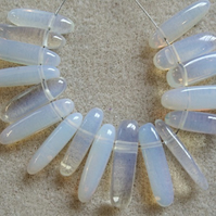 17 opalite dog-tooth gemstone beads