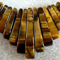 Tiger's eye gemstone tapered fan bead set